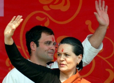 Chief of India's ruling Congress party Sonia Gandhi and its General-Secretary Rahul Gandhi