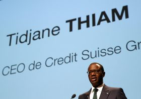 Chief Executive Tidjane Thiam of Swiss bank Credit Suisse speaks during the Forum 100 conference in Lausanne, Switzerland May 19, 2016. To match Insight CREDIT SUISSE-CEO/   REUTERS/Denis Balibouse/File Photo  - RTX2J0DF