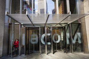A woman exits the Viacom Inc. headquarters in New York April 30, 2013.