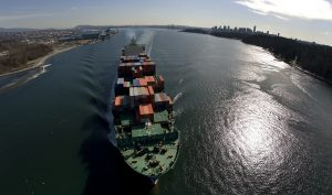 A container ship departs Burrard Inlet in Vancouver, British Columbia March 6, 2009.