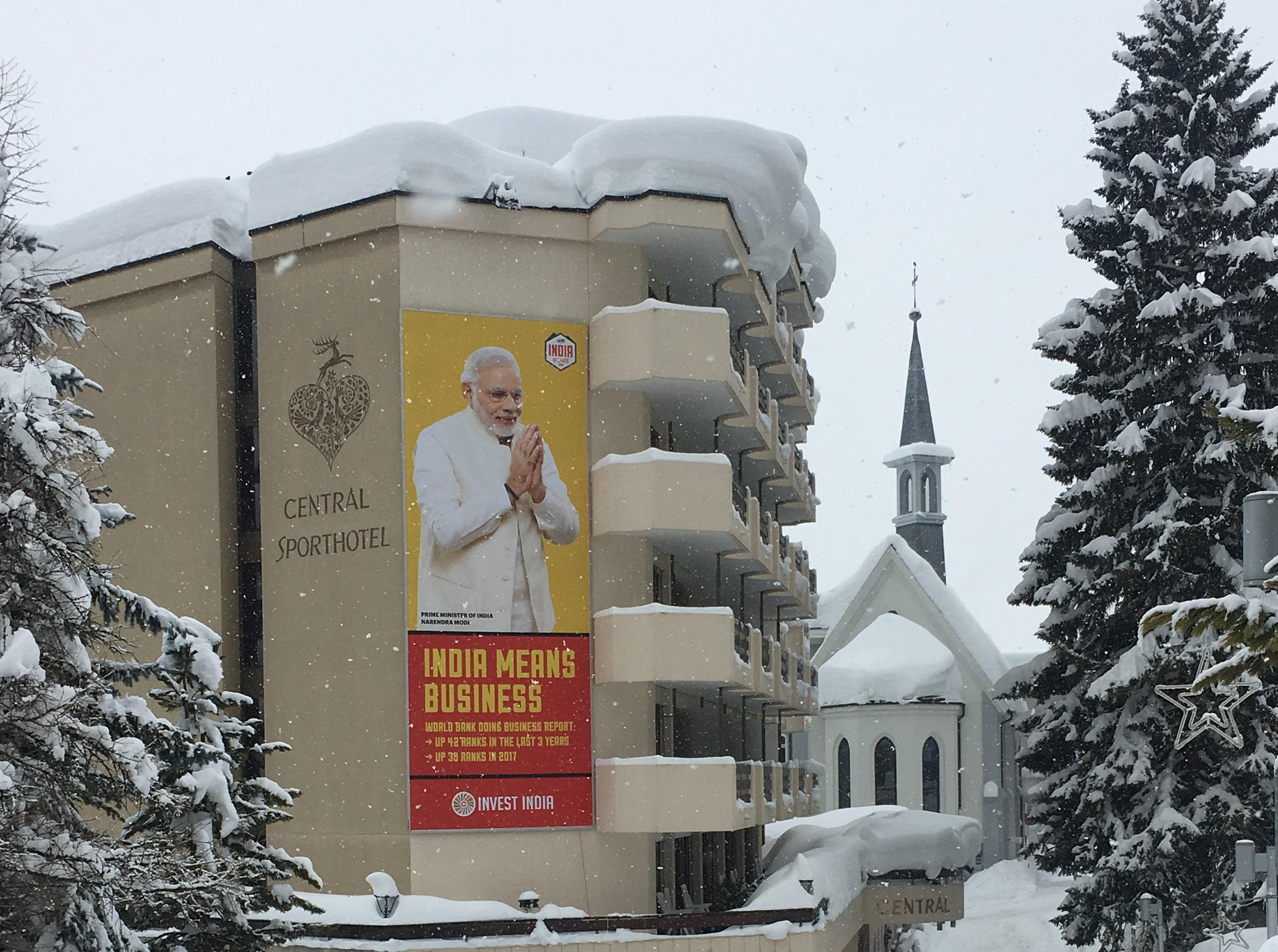 A poster featuring Indian Prime Minister Narendra Modi at the World Economic Forum in Davos, January. Reuters/Una Galani